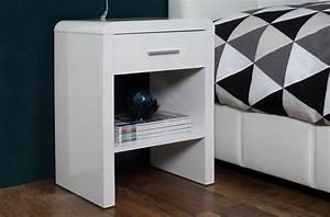 Table De Chevet Blanc Laqué : chevet blanc laqu brillant design actuel sully mobilier priv ~ Teatrodelosmanantiales.com Idées de Décoration