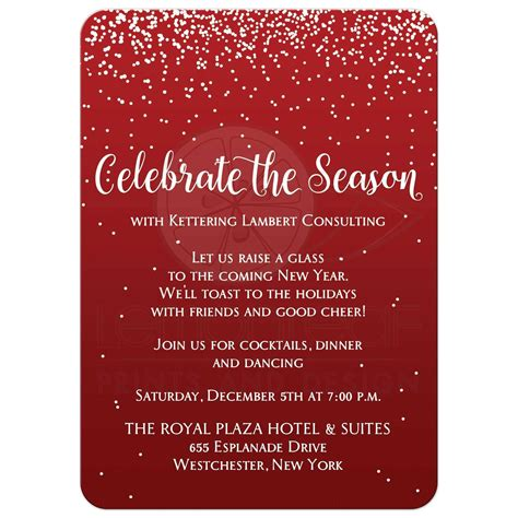Holiday Party Invitation 2 Celebrate the Season Red