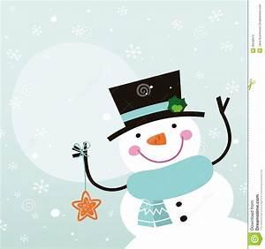 Cute Cartoon Snowman With Christmas Decoration Stock ...