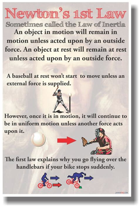 newtons st law  classroom physics science poster ebay