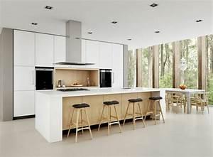 idee cuisine avec ilot perspective mouvement lumiere With idee deco cuisine avec cuisine scandinave design