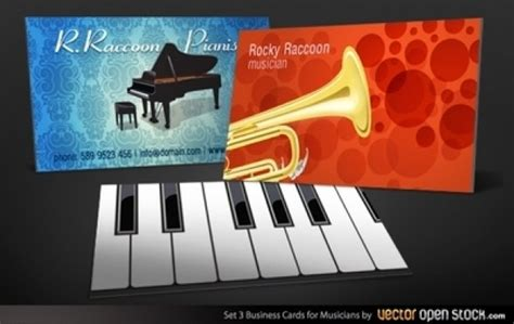 Music Business Card Set Vector Business Card Case Muji Tumi Structured Mbm Bc10 Cutter Manual Edc Large Cards Using Canva Iphone Printing Design