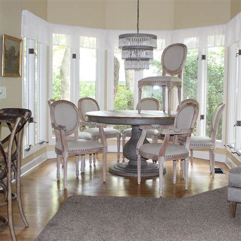 set dining room chairs  arm   side aged white