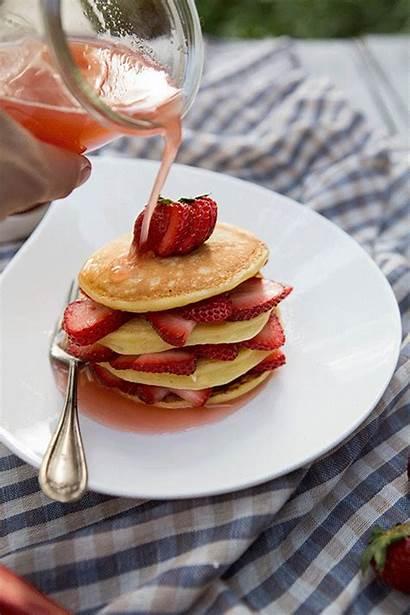 Syrup Honey Strawberry Pancake Stacks Rhubarb Ricotta