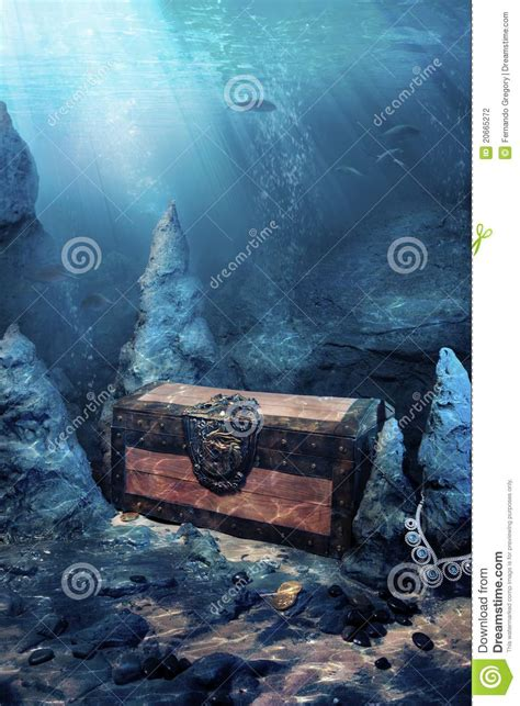 closed treasure chest underwater stock photo image