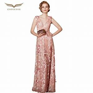 coniefox 30856 vestidos de noche plus size sequined With dress for pregnant wedding guest