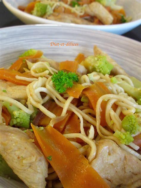 cuisiner des nouilles chinoises wok de nouilles chinoises au poulet et aux légumes diet