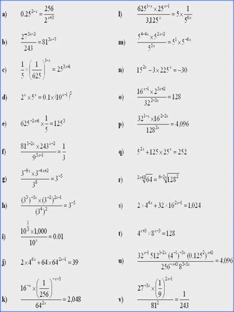 Solving Exponential Equations Worksheet Mychaumecom