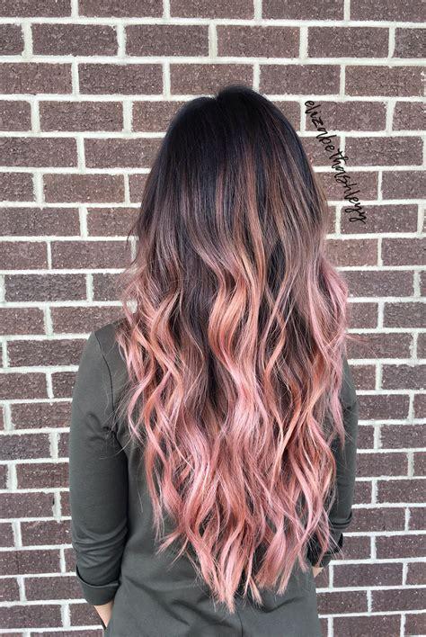 balayage ombre brunette pink balayage chocolate