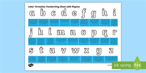 letter formation handwriting sheet  rhymes letter