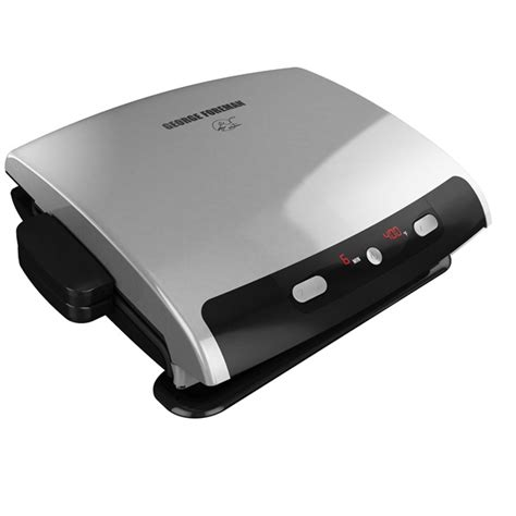 George Foreman 6 Serving Removable Nonstick Plate Countertop Grill by 6 Serving Removable Plate Grill Silver George Foreman