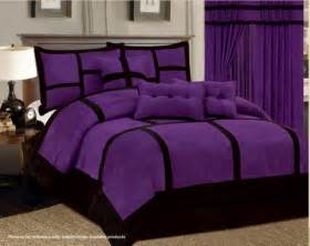 7 pc purple black comforter set micro suede california king size bed in a bag