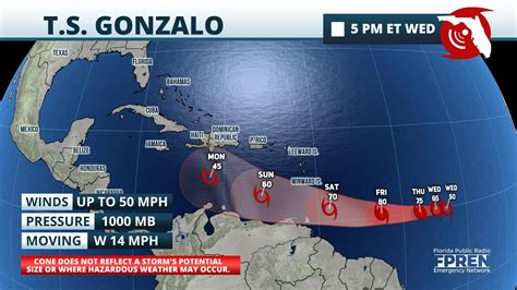 Tropical storm claudette as of 12:00 utc jun 19, 2021: Tropical Storm Gonzalo Could Become Season's First ...