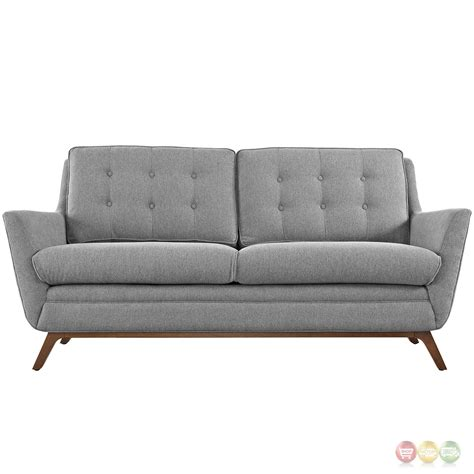 Tufted Loveseat Gray by Beguile Contemporary Button Tufted Upholstered Loveseat