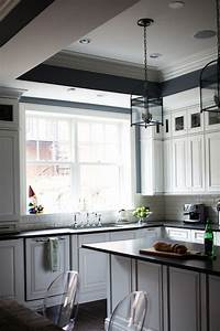 kitchen tray ceiling transitional kitchen rue magazine With kitchen colors with white cabinets with michael jackson wall art