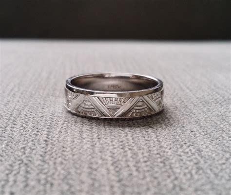 art deco mens wedding band ring pattern antique unique