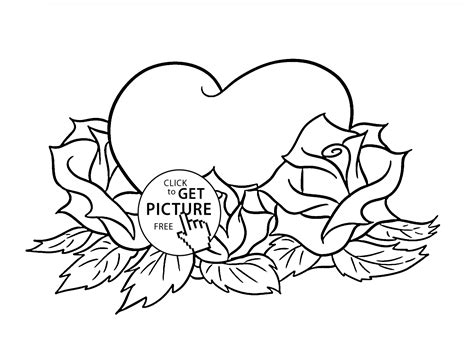 Beautiful Roses And Heart Coloring Page For Kids Flower