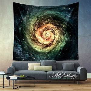 Galaxy tapestry green spiral wall
