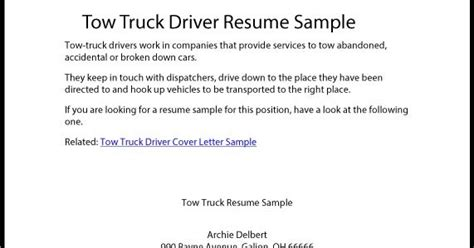 tow truck driver resume cover letter great sle resume tow truck driver resume sle