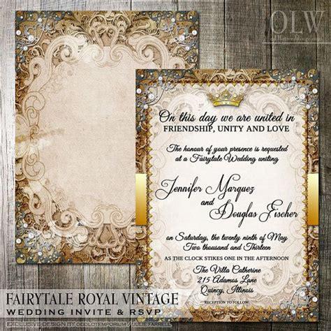 Vintage Fairytale Royal Wedding Invitation and RSVP Card