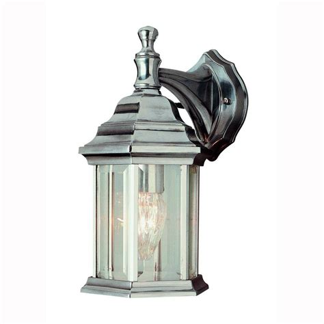 home depot outdoor lighting bel air lighting pentagon 1 light brushed nickel outdoor