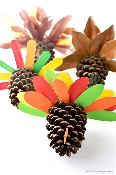 pine cones for crafts thanksgiving pine cone turkey craft she wears many hats