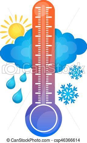 Symbol of temperature change. sun, thermometer, rain, snow.