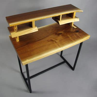 edge black walnut writing desk  steel legs