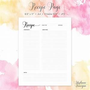 Recipe Page Recipe Printable Recipe Card by SFDesignPhoto