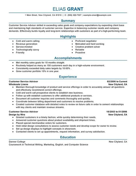 Great Resume Sles For Customer Service by Customer Service Advisor Resume Sle My Resume