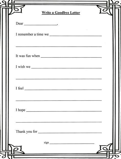 grief  loss worksheets writing  letter   person