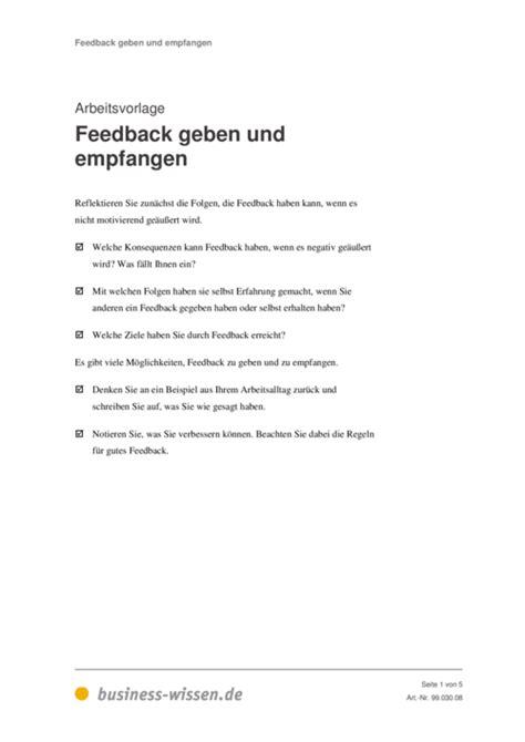 feedback geben und empfangen vorlage business wissende