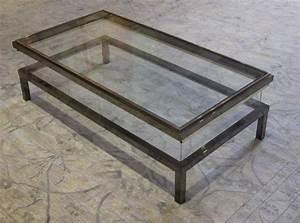 belgian polished nickel vitrine coffee table circa 1960s With polished nickel coffee table