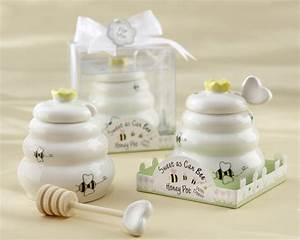 sweet as can bee honey pot with wooden dipper With honey pot wedding favors