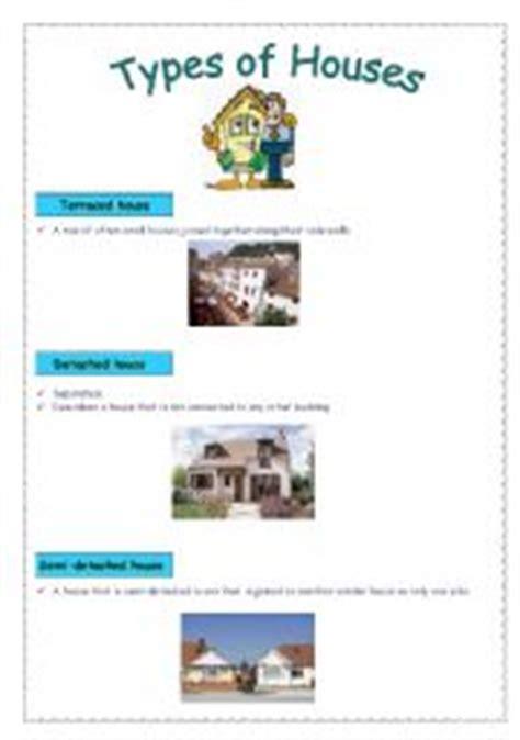house part  types  houses esl worksheet