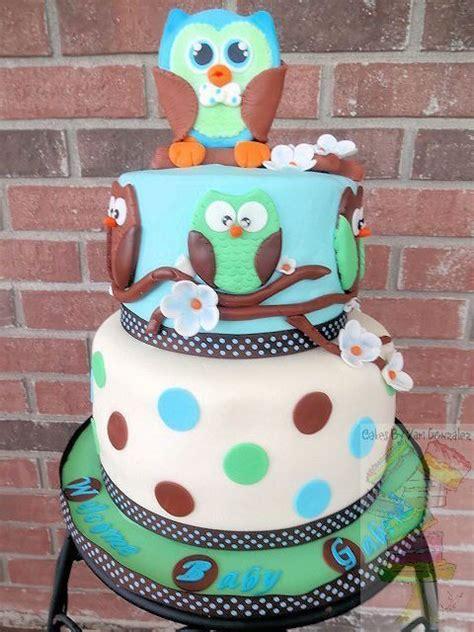 owl baby shower cake   girl  boy