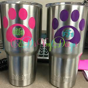 Paw Monogram Decal - Monogram Cup Decal - Monogram Tumbler Decal - Monogram Decal - Car Decal - Paw Monogram Decal