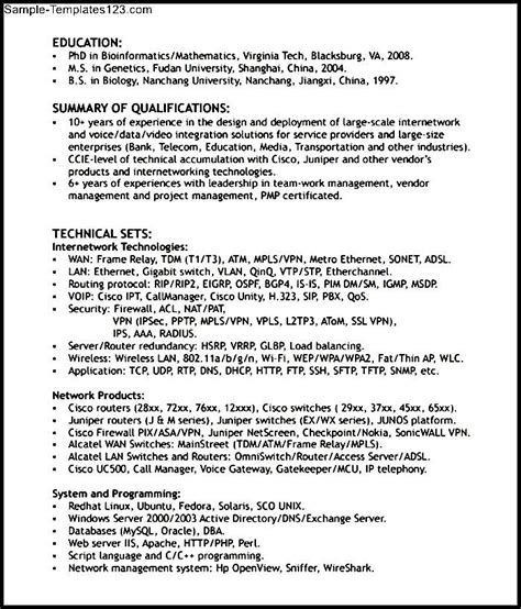 Networking Resumes by Networking Engineer Resume Format Sle Templates