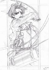 Attack Titan Levi Coloring Miu Ackerman Koru sketch template