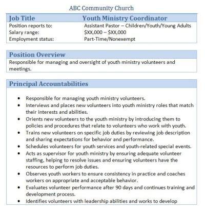 Activities Coordinator Description by 45 Free Downloadable Sle Church Descriptions