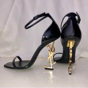Saint Laurent Shoes Opium Golden Ysl Heel Sandals Poshmark