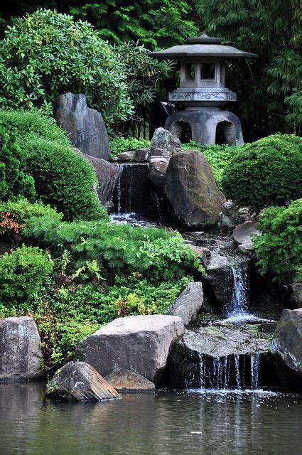 japanese garden  waterfall   lantern