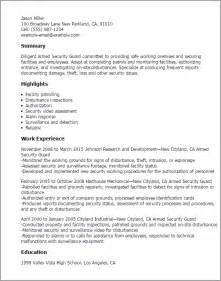 resume format for security guard professional armed security guard templates to showcase your talent myperfectresume
