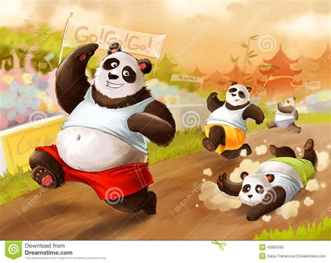 pandas marathon stock illustration image