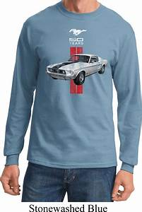 Mens Ford Shirt Red Stripe Mustang 50 Years Long Sleeve Tee T-Shirt - Red Stripe Mustang 50 ...