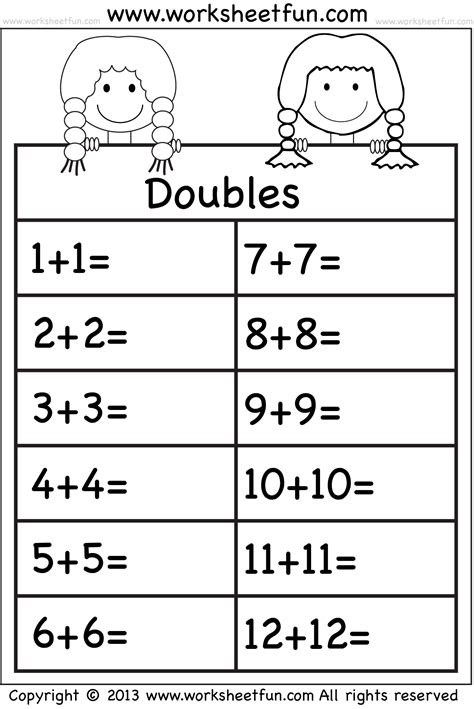 math doubles worksheets adding doubles math worksheets