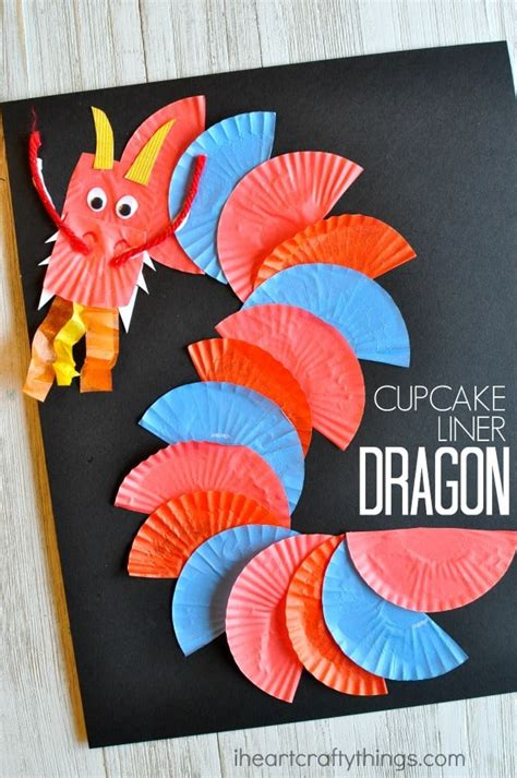 13 easy to make new year crafts for socal 284 | cupcake liner dragon craft for preschool