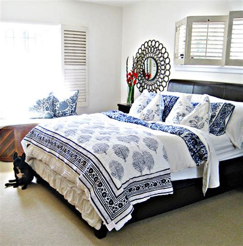 bed white blue and white mixed floral print bedding letherette bed f 11581