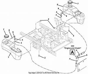 Gravely 992045  004501 -   25hp 52 U0026quot  Deck Parts Diagram For Fuel Tanks And Hoses