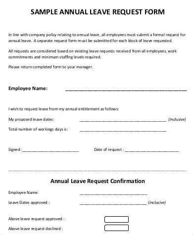 military leave request form template 8 sle leave request forms sle templates